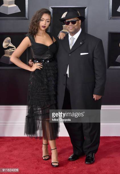 Model Bella Harris and songwriter Jimmy Jam attend the 60th Annual GRAMMY Awards at Madison Square Garden on January 28 2018 in New York City