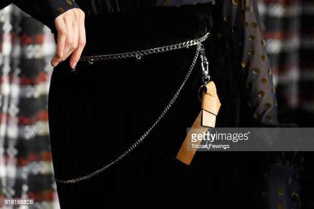 Model Belt Detail at the Fashion Hong Kong Presentation at Somerset House on February 16 2018 in London England