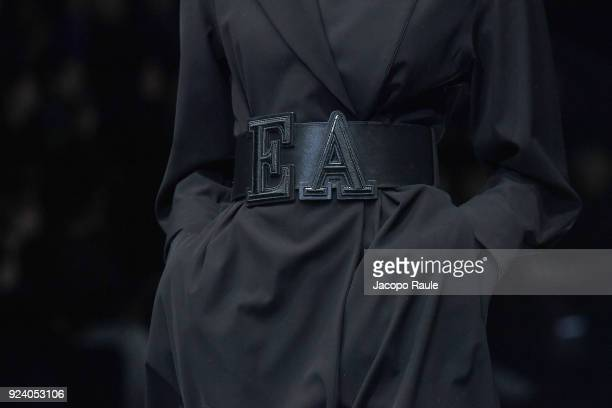 A model belt detail walks the runway at the Emporio Armani show during Milan Fashion Week Fall/Winter 2018/19 on February 25 2018 in Milan Italy