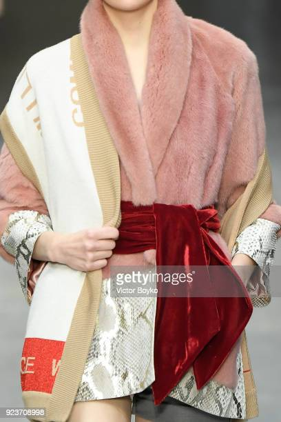A model belt details walks the runway at the Francesca Liberatore show during Milan Fashion Week Fall/Winter 2018/19 on February 24 2018 in Milan...