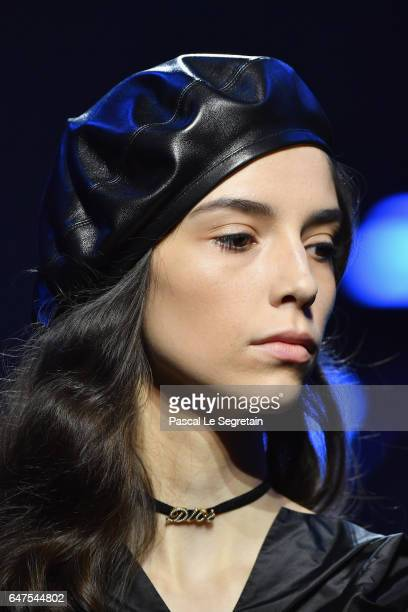 A model beret detail walks the runway during the Christian Dior show as part of the Paris Fashion Week Womenswear Fall/Winter 2017/2018 at Musee...