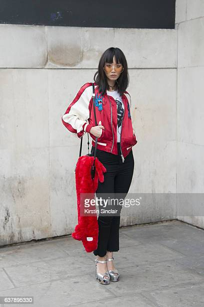 Model Betty Bachz wears a Pam Hogg T shirt Chiara Ferragni shoes MCM bag Moy Atelier by betty Bachz sunglasses and Unravel jacket and trousers day 1...