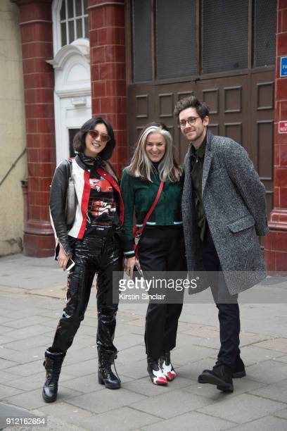Model Betty Bachz with Fashion Director of Esquire UK and Esquire UK style biannual The Big Black Book Catherine Hayward and Style Director at...
