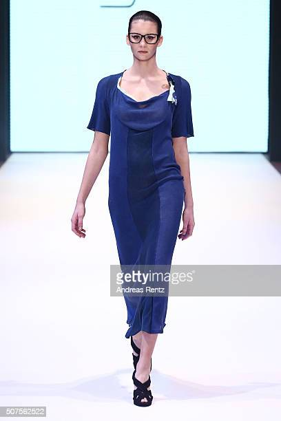 Model Betty Taube walks the runway at the Tina Miyake show as part of Fashion Net Presents Duesseldorf Designers during Platform Fashion January 2016...