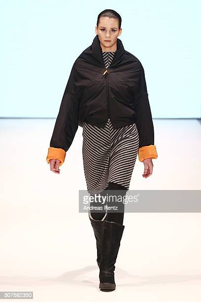 Model Betty Taube walks the runway at the Ursbob show as part of Fashion Net Presents Duesseldorf Designers during Platform Fashion January 2016 at...