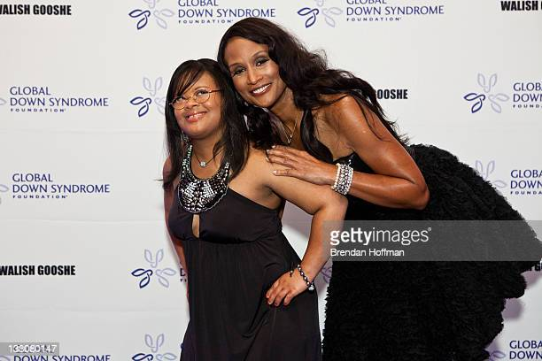 Model Beverly Johnson arrives with Natalie Fuller at the inaugural Global Down Syndrome Foundation's Be Beautiful Be Yourself Gala on November 16...