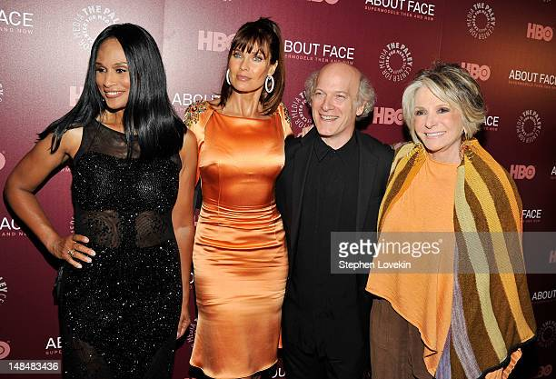 Model Beverly Johnson model Carol Alt photographer Timothy GreenfieldSanders and HBO Documentary Films president Sheila Nevins attend the About Face...