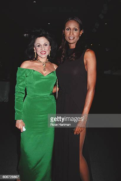Model Beverly Johnson with actress Nikki Haskell at the 5th anniversary party for 'Mirabella' magazine in New York City 20th June 1994