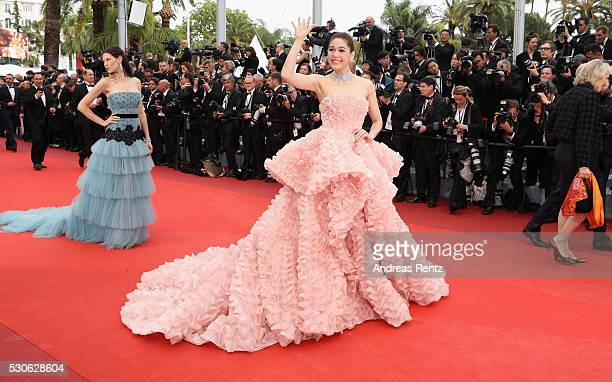 Model Bianca Balti and Actress Araya A Hargate attend the Cafe Society premiere and the Opening Night Gala during the 69th annual Cannes Film...