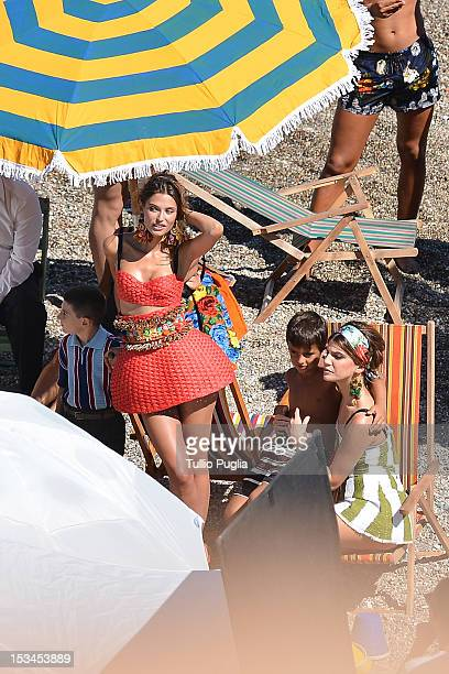 Model Bianca Balti and Italian socialite and model Bianca Brandolini d'Adda are seen on the set of Dolce Gabbana new photography campaign on October...