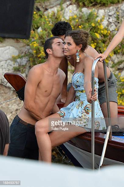 Model Bianca Balti is seen on the set of Dolce Gabbana new photography campaign on October 4 2012 in Taormina Italy