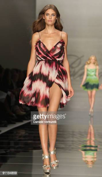 Model Bianca Balti walks down the runway during the Blumarine Milan Womenswear Fashion Week Spring/Summer 2010 at the Milano Fashion Center at on...