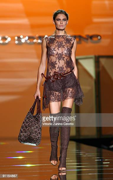 Model Bianca Balti walks down the runway during the Ermanno Scervino show as part of Milan Womenswear Fashion Week Spring/Summer 2010 on September...
