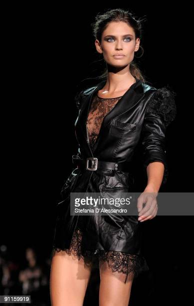 Model Bianca Balti walks down the runway during the Ermanno Scervino show as part of Milan Womenswear Fashion Week Spring/Summer 2010 on September 25...