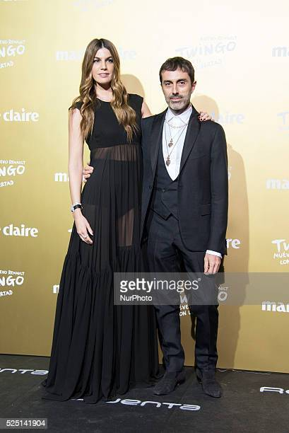 Model Bianca Brandolini and Italian fashion designer Gianbattista Valli attend the Marie Claire Prix de la Moda 2015 at the Callao cinema on November...