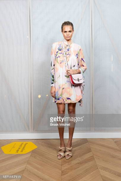 Model Billie Jean Hamlet poses ahead of the David Jones SS20 New Dawn Season Launch at David Jones Elizabeth Street Store on September 07 2020 in...