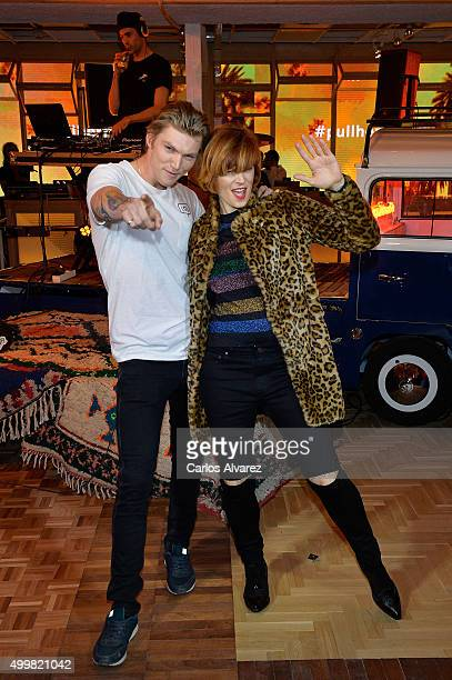 Model Bimba Bose and Charlie Centa attend the Pull & Bear biggest Store opening on December 3, 2015 in Madrid, Spain.