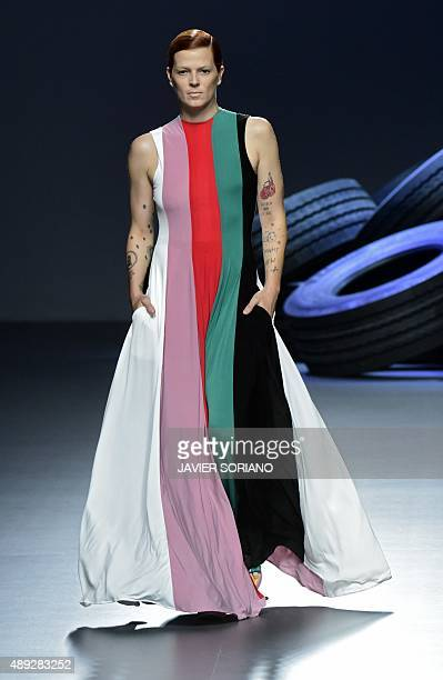 Model Bimba Bose presents a creation by David Delfin SpringSummer 2016 collection during the Madrid Fashion Week in Madrid on September 20 2015 AFP...