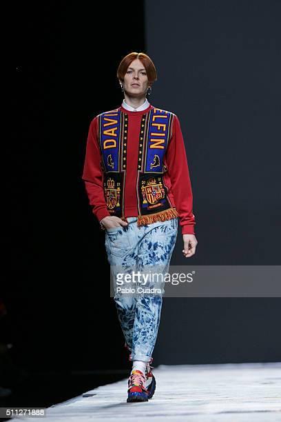 Model Bimba Bose walks the runway at the Davidelfin show during the MercedesBenz Madrid Fashion Week Autumn/Winter 2016/2017 at Ifema on February 19...