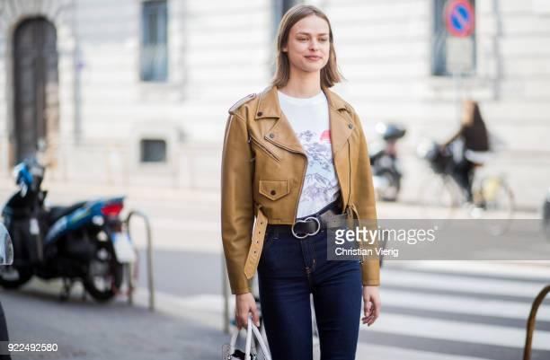 Model Birgit Kos seen outside Alberta Ferretti during Milan Fashion Week Fall/Winter 2018/19 on February 21 2018 in Milan Italy