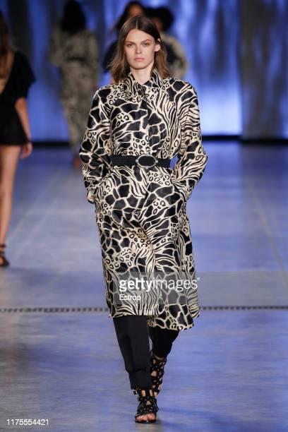 Model Birgit Kos walks the runway at the Alberta Ferretti show during Milan Fashion Week September 2019 at Italy on September 18, 2019 in Milan,...