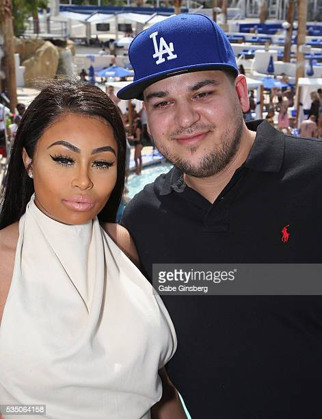 Model Blac Chyna and television personality Rob Kardashian attend the Sky Beach Club at the Tropicana Las Vegas on May 28 2016 in Las Vegas Nevada