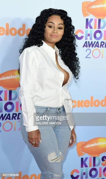 Model Blac Chyna arrives for the 30th Annual Nickelodeon Kids' Choice Awards March 11 at the Galen Center on the University of Southern California...