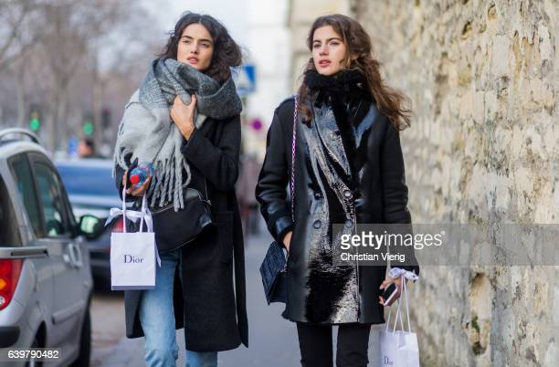 Model Blanca Padilla and Valery Kaufman outside Dior on January 23 2017 in Paris Canada