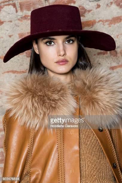 Model Blanca Padilla is seen backstage ahead of the Alberta Ferretti show during Milan Fashion Week Fall/Winter 2018/19 on February 21 2018 in Milan...