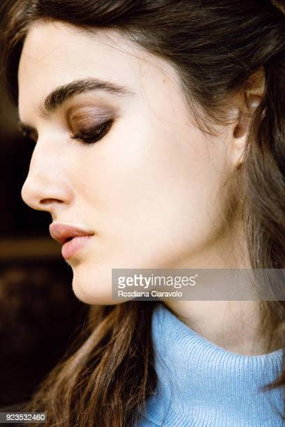 Model Blanca Padilla is seen backstage ahead of the Etro show during Milan Fashion Week Fall/Winter 2018/19 on February 23 2018 in Milan Italy