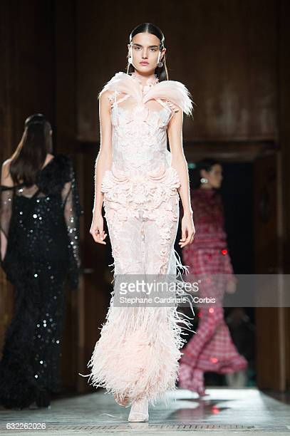 Model Blanca Padilla walks the runway during the Givenchy Menswear Fall/Winter 20172018 show as part of Paris Fashion Week on January 20 2017 in...