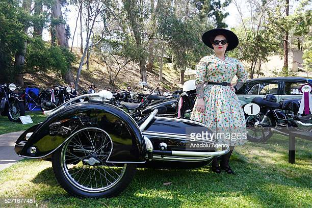 1954 model BMW R513 motorcycle is on display during Concours d'Elegance at Greystone Mansion in Beverly Hills Los Angeles USA on May 2 2016 140...