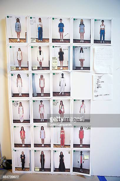 Model board at the Adam Selman Presentation MercedesBenz Fashion Week Spring 2015 at Algus Greenspon Gallery on September 5 2014 in New York City