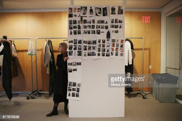 Model board backstage at the Calvin Luo fashion show during New York Fashion Week on February 13 2018 in New York City