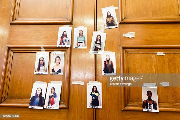 Model boards backstage ahead of the Toga show during London Fashion Week Spring/Summer 2016 on September 22 2015 in London England