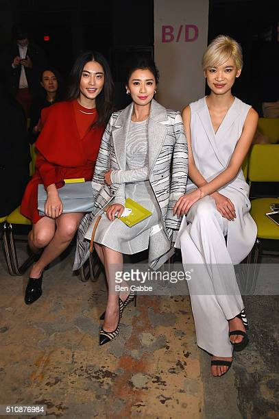 Model Bonnie Chen actress Alyssa Chia and model Kiki Kan attend the Boss Womenswear Fall 2016 fashion show during New York Fashion Week The Shows on...