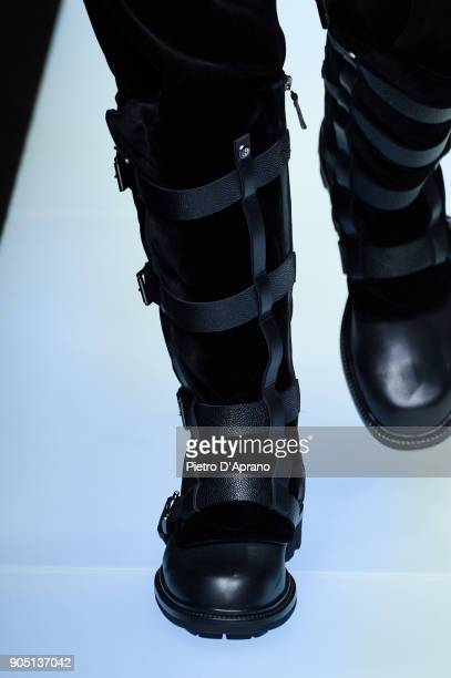 A model boot detail walks the runway at the Giorgio Armani show during Milan Men's Fashion Week Fall/Winter 2018/19 on January 15 2018 in Milan Italy