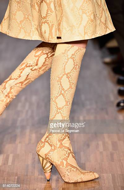 A model boot detail walks the runway during the Givenchy show as part of the Paris Fashion Week Womenswear Fall/Winter 2016/2017 on March 6 2016 in...
