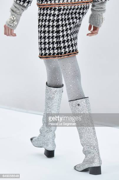 A model boots detail walks the runway during the Chanel show as part of the Paris Fashion Week Womenswear Fall/Winter 2017/2018 on March 7 2017 in...
