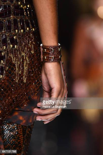 A model bracelet detail walks the runway during the Balmain show as part of the Paris Fashion Week Womenswear Fall/Winter 2017/2018 on March 2 2017...