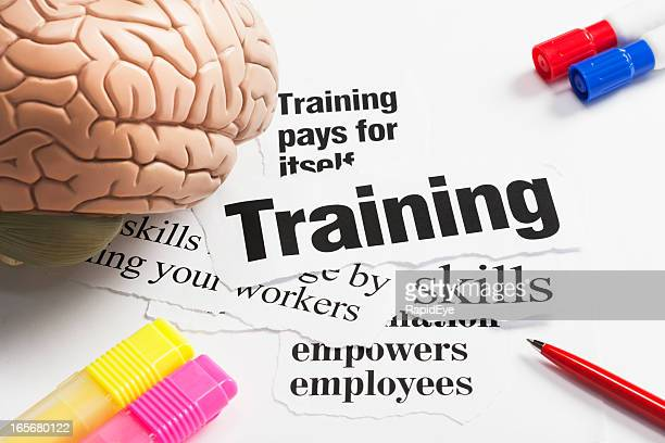 Model brain, pens on headlines concerning value of training employees