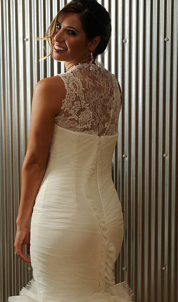 Model Breanna Ortola Wears A Vera Wedding Dress At Anna B Bridal Boutique In Lohi