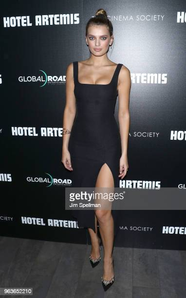 Model Bregje Heinen attends the screening of Hotel Artemis hosted by Global Road Entertainment with The Cinema Society at the Quad Cinema on May 29...
