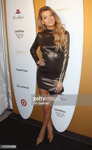 Model Bregje Heinen attends the Sports Illustrated Swimsuit 50th Anniversary Party at Swimsuit Beach House on February 18 2014 in New York City