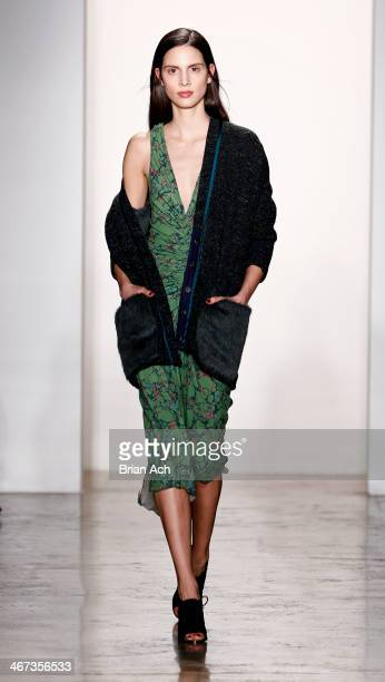 Model Brenda Kranz walks the runway at the Costello Tagliapietra fashion show during MADE Fashion Week Fall 2014 at Milk Studios on February 6 2014...