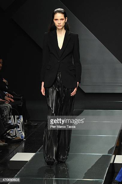 Model Brenda Kranz walks the runway during the Krizia show as part of Milan Fashion Week Womenswear Autumn/Winter 2014 on February 20, 2014 in Milan,...