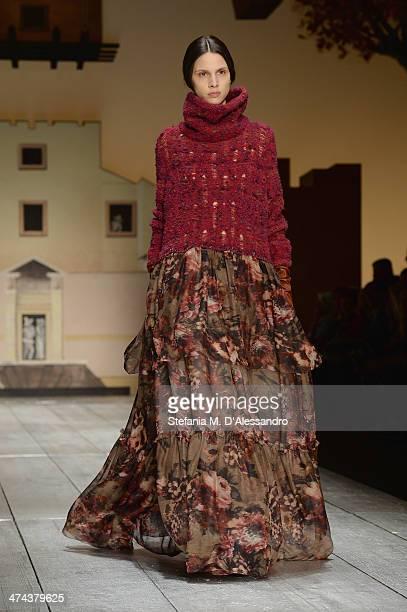 Model Brenda Kranz walks the runway during the Laura Biagiotti show as part of Milan Fashion Week Womenswear Autumn/Winter 2014 on February 23 2014...