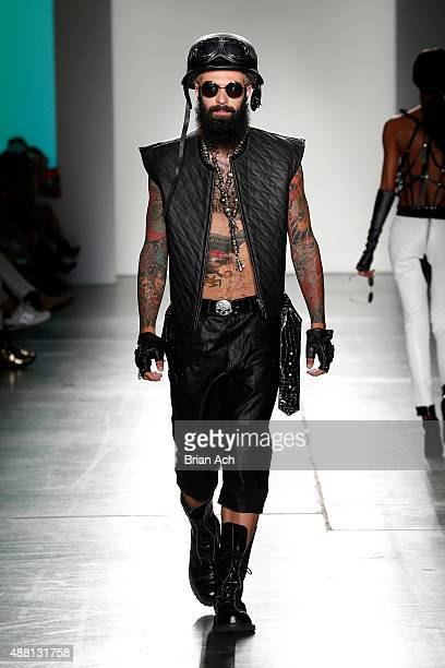 Model Brett David walks the runway during Nolcha Shows During New York Fashion Week Spring/Summer 2016 Collections NYFW Planet Zero Motersports at...