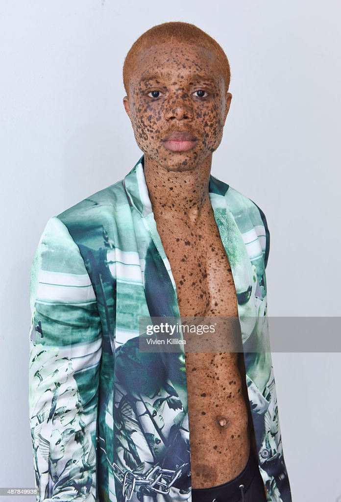 Model Brian Souffrant wears Mr. Shaun Ross during the Mr. Shaun Ross Presentation at Spring 2016 New York Fashion Week at Splashlight Studios on September 11, 2015 in New York City.