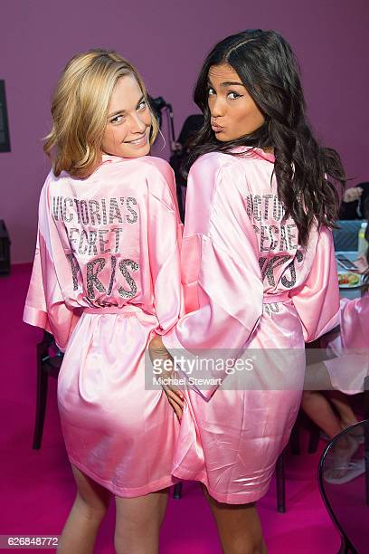Model Bridget Malcolm and Kelly Gale prepare before the 2016 Victoria's Secret Fashion Show at Le Grand Palais in Paris on November 30 2016 in Paris...